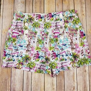 J. CREW Harbor Print Linen Sailor Shorta
